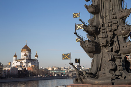 moskva river: Fragment monument to Peter the Great, Moscow, Russia-- located at the western confluence of the Moskva River and the Vodootvodny Canal in central Moscow.