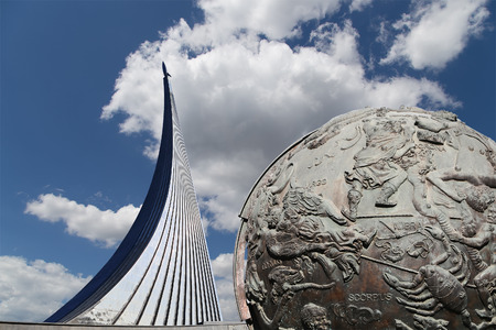 Conquerors of Space Monument in the park outdoors of Cosmonautics museum, near VDNK exhibition center, and Celestial globes, Moscow, Russia
