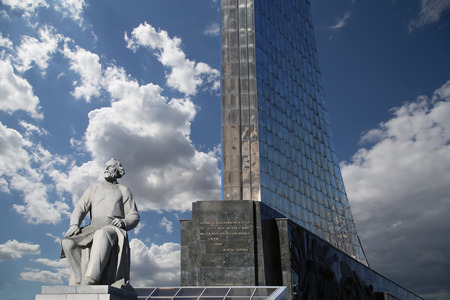 gagarin: Monument to the Conquerors of Space and statue of Konstantin Tsiolkovsky, the precursor of astronautics, in Moscow, Russia