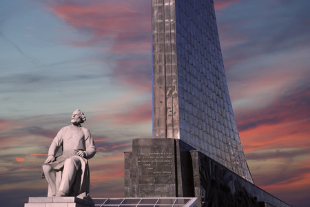 precursor: Monument to the Conquerors of Space and statue of Konstantin Tsiolkovsky, the precursor of astronautics, in Moscow, Russia