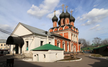 petrovka: High Monastery of St Peter on Petrovka street in Moscow, Russia. The monastery wasn founded in 1320s by Saint Peter of Moscow, the first Russian metropolitan Stock Photo
