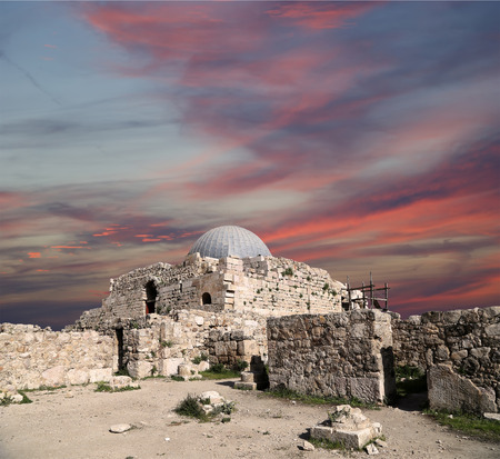 past civilizations: The old Umayyad Palace, one of the well-preserved buildings at Jabal al-Qala, the old roman citadel hill of Jordans capital Amman