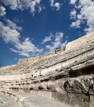 pius: Roman Theatre in Amman, Jordan -- theatre was built the reign of Antonius Pius (138-161 CE), the large and steeply raked structure could seat about 6000 people  Stock Photo