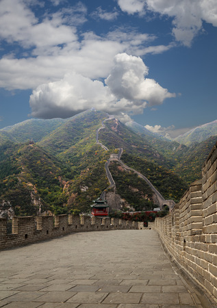 View of one of the most scenic sections of the Great Wall of China, north of Beijing photo