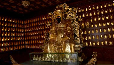 Statue of Xuanzang. Great Wild Goose Pagoda, Xian (Sian, Xian), Shaanxi province, China