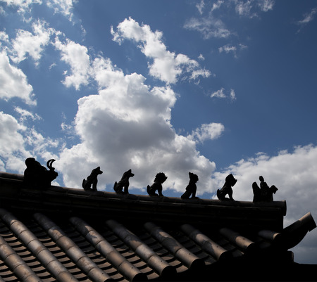 sutra: Traditional decoration of the roof (contour) of a Buddhist temple, Xian (Sian, Xian), Shaanxi province, China