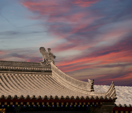 Roof decorations on the territory Giant Wild Goose Pagoda, is a Buddhist pagoda located in southern Xian (Sian, Xi'an), Shaanxi province, China