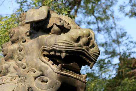 dalai: Bronze Guardian Lion Statue in Yonghe Temple (Lama Temple) in Beijing, China