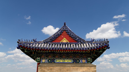 chinese temple: Traditional decoration of the roof of a Buddhist temple, Xian (Sian), China