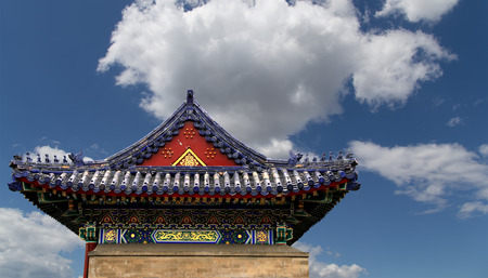 buddhist temple roof: Traditional decoration of the roof of a Buddhist temple, Xian (Sian), China