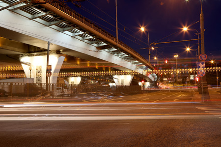 slow lane: Traffic on the highway of big city (at night), Moscow, Russia
