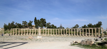 greek columns: Forum (Oval Plaza)  in Gerasa (Jerash), Jordan.  Forum is an asymmetric plaza at the beginning of the Colonnaded Street, which was built in the first century AD