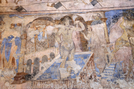 Fresco at Quseir (Qasr) Amra desert castle near Amman, Jordan. World heritage with famous fresco's. Built in 8th century by the Umayyad caliph Walid II, the castle is one of the most important examples of early Islamic art and architecture