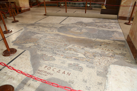 ancient byzantine map of Holy Land on floor of Madaba St George Basilica, Jordan, Middle East