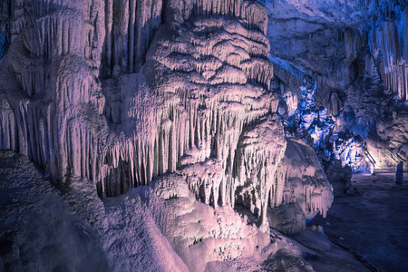 cuevas de nerja: Interior of Natural Cave in Andalusia, Spain -- Inside the Cuevas de Nerja are a variety of geologic cave formations which create interesting patterns