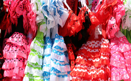 Typical colored Spanish flamenco dress, Andalusia, Spain   photo