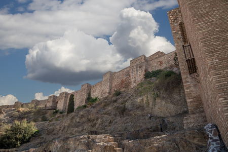 declared: Castello di Alcazaba sul Monte Gibralfaro. Malaga, Andalusia, Spagna. Il posto � dichiarata patrimonio mondiale dell'UNESCO