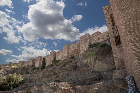 alcazaba: Alcazaba castle on Gibralfaro mountain. Malaga, Andalusia, Spain. The place is declared UNESCO World Heritage Site