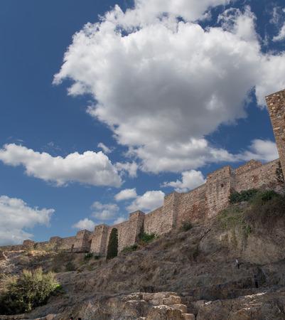 declared: Alcazaba castle on Gibralfaro mountain. Malaga, Andalusia, Spain. The place is declared UNESCO World Heritage Site