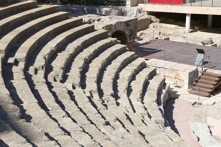 alcazaba: Ancient Roman Theatre near Malaga Alcazaba castle on Gibralfaro mountain, Andalusia, Spain. Stock Photo