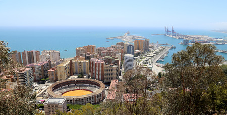 toros: View of Malaga with the Plaza de Toros (bullring) from the aerial view, Spain