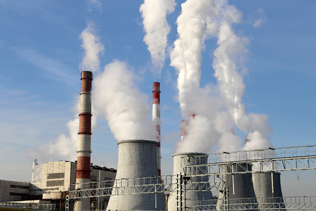 factory power generation: Coal burning power plant with smoke stacks, Moscow, Russia