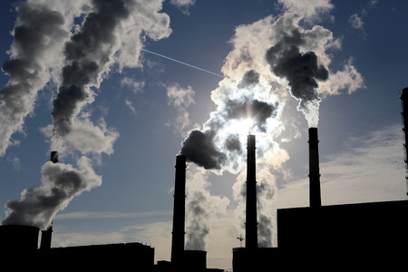 fuel and power generation: Smoke stacks at coal burning power plant