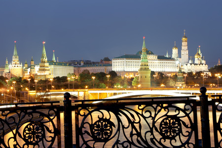 Night view of the Kremlin, Moscow, Russia--the most popular view of Moscow photo