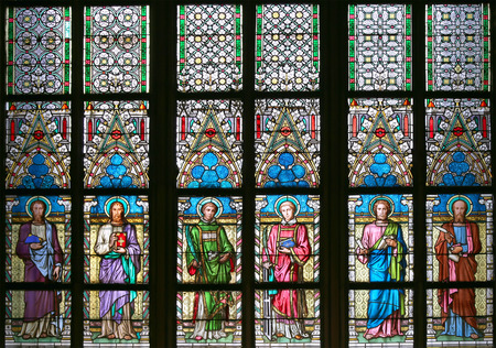stained glass: Art Nouveau painter Alfons Mucha Stained Glass window in St. Vitus Cathedral, Prague, Czech Republic