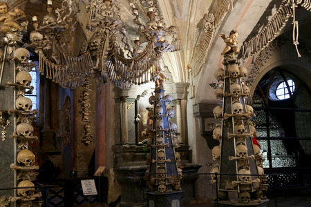Sedlec Ossuary is a small Roman Catholic chapel, located beneath the Cemetery Church of All Saints in Sedlec, a suburb of Kutna Hora in the Czech Republic Stock Photo - 34083399