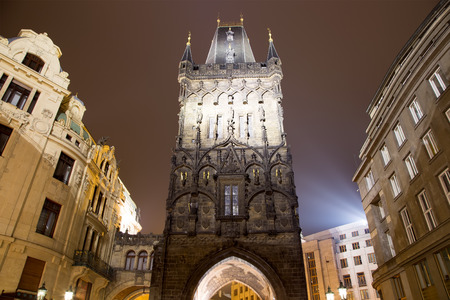 11th century: Powder tower (gate) at evening in Prague, Czech Republic. It is one of the original city gates, dating back to the 11th century. It is one of the symbols of Prague leading into the Old Town