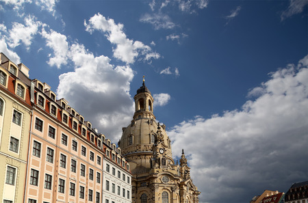 literally: Dresden Frauenkirche ( literally Church of Our Lady) is a Lutheran church in Dresden, Germany Stock Photo