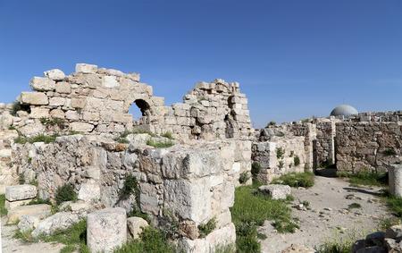 citadel: Amman city landmarks-- old roman Citadel Hill,  Jordan