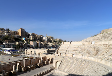 raked: Roman Theatre in Amman, Jordan -- theatre was built the reign of Antonius Pius (138-161 CE), the large and steeply raked structure could seat about 6000 people