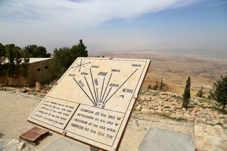 nablus: desert mountain landscape (aerial view from Mount Nebo) and plaque showing the distance from Mount Nebo to various locations, Jordan, Middle East