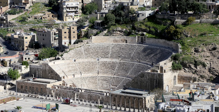 pius: Roman Theatre in Amman, Jordan -- theatre was built the reign of Antonius Pius (138-161 CE), the large and steeply raked structure could seat about 6000 people