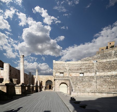 past civilizations: Roman Theatre in Amman, Jordan -- theatre was built the reign of Antonius Pius (138-161 CE), the large and steeply raked structure could seat about 6000 people