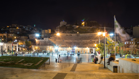 pius: Roman Theatre in Amman (at night), Jordan -- theatre was built the reign of Antonius Pius (138-161 CE), the large and steeply raked structure could seat about 6000 people Editorial