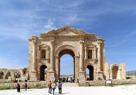 hadrian: Arch of Hadrian in Gerasa (Jerash)-- was built to honor the visit of emperor Hadrian to Jerash in 129130 AD, Jordan Editorial
