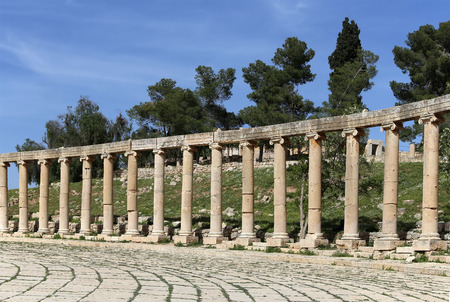 colonnaded: Forum (Oval Plaza)  in Gerasa (Jerash), Jordan.  Forum is an asymmetric plaza at the beginning of the Colonnaded Street, which was built in the first century AD