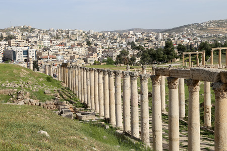 antiquity: Roman ruins in the Jordanian city of Jerash (Gerasa of Antiquity), capital and largest city of Jerash Governorate, Jordan