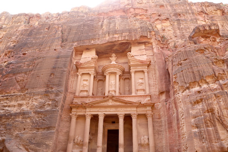 treasury: Al Khazneh or The Treasury at Petra, Jordan-- it is a symbol of Jordan, as well as Jordans most-visited tourist attraction.