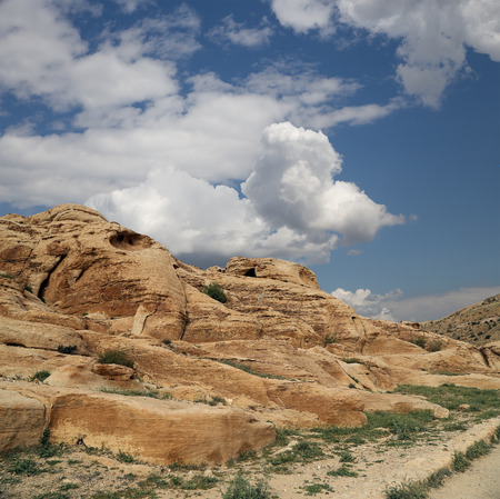 petra  jordan: Mountains of Petra, Jordan, Middle East.  Stock Photo