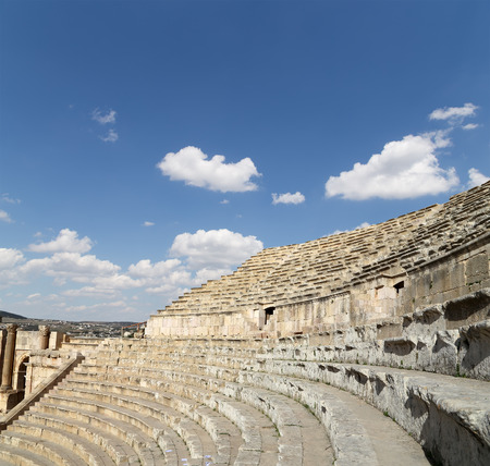 antiquity: Amphitheater in Jerash (Gerasa of Antiquity), capital and largest city of Jerash Governorate, Jordan