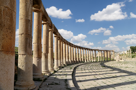 past civilizations: Forum (Oval Plaza)  in Gerasa (Jerash), Jordan.  Forum is an asymmetric plaza at the beginning of the Colonnaded Street, which was built in the first century AD