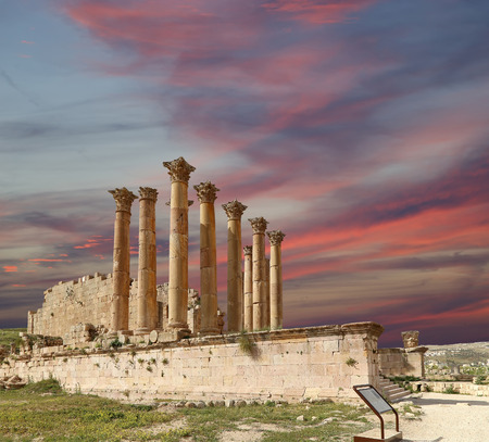 antiquity: Temple of Zeus, Jordanian city of Jerash  (Gerasa of Antiquity), capital and largest city of Jerash Governorate, Jordan Stock Photo