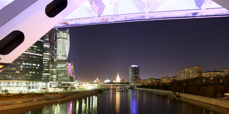 international business center: Skyscrapers International Business Center (City) at night, Moscow, Russia Stock Photo