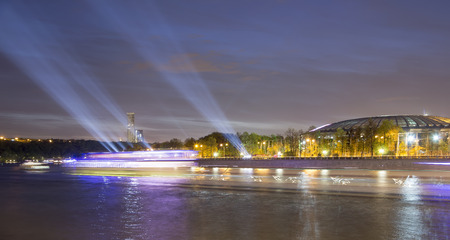 moskva river: Embankment of the Moskva River and Luzhniki Stadium, night view, Moscow, Russia.