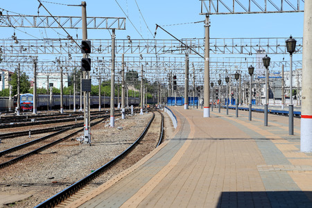 throughput: Train on Moscow passenger platform (Yaroslavsky railway station), Russia-- is one of nine main railway stations in Moscow, situated on Komsomolskaya Square. It has highest passenger throughput of all nine Moscow stations