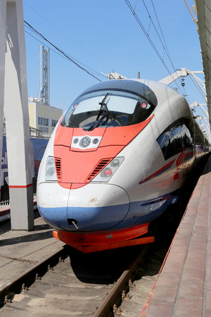 acquired: Aeroexpress Train Sapsan at the Leningrad station. Moscow, Russia -- high-speed train acquired OAO Russian Railways for use on the Russian high-speed railways Editorial